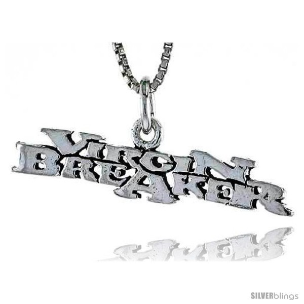 Primary image for Sterling Silver VIRGIN BREAKER Word Necklace, w/ 18 in Box