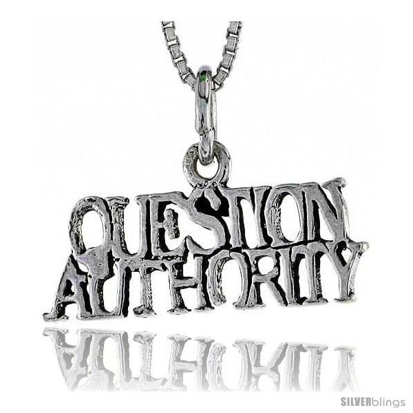 Primary image for Sterling Silver QUESTION AUTHORITY Word Necklace, w/ 18 in Box