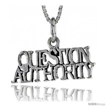 Sterling Silver QUESTION AUTHORITY Word Necklace, w/ 18 in Box  - $44.40