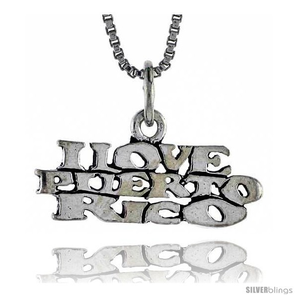Primary image for Sterling Silver I LOVE PUERTO RICO Word Necklace, w/ 18 in Box