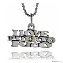 Sterling Silver I LOVE PUERTO RICO Word Necklace, w/ 18 in Box  - $44.40