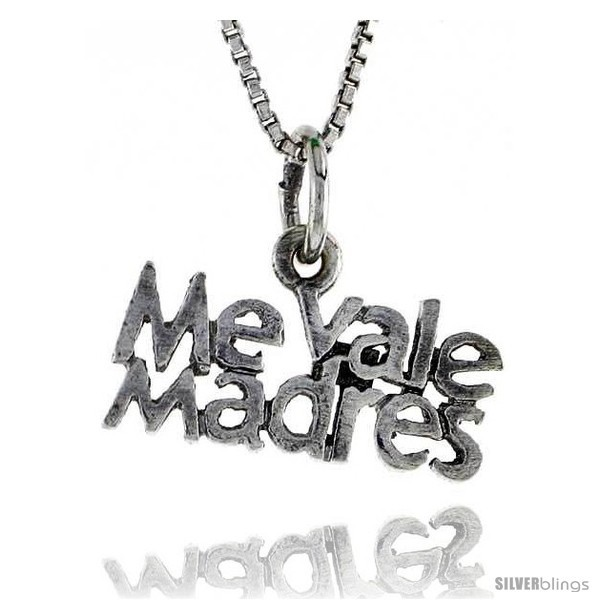 Primary image for Sterling Silver ME VALE MADRES Word Necklace, w/ 18 in Box