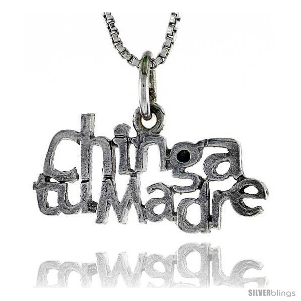 Primary image for Sterling Silver CHINGA TU MADRE Word Necklace, w/ 18 in Box