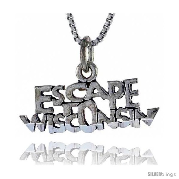 Primary image for Sterling Silver ESCAPE WISCONSIN Word Necklace, w/ 18 in Box