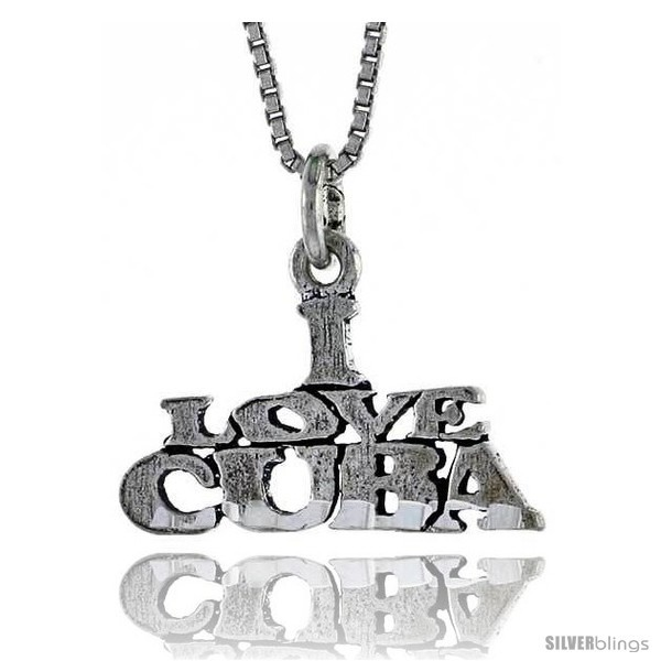 Primary image for Sterling Silver I LOVE CUBA Word Necklace, w/ 18 in Box