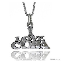 Sterling Silver I LOVE CUBA Word Necklace, w/ 18 in Box  - $44.40