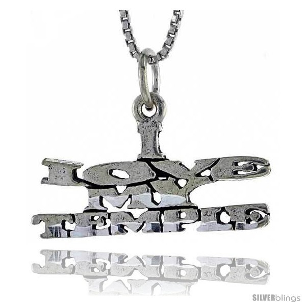 Primary image for Sterling Silver I LOVE MY TEMPLE Word Necklace, w/ 18 in Box