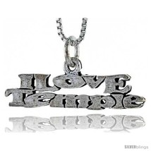 Sterling Silver I LOVE TEMPLE Word Necklace, w/ 18 in Box  - $44.40