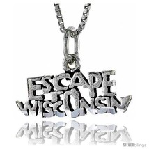 Sterling Silver ESCAPE WISCONSIN Word Necklace, w/ 18 in Box Chain -Style  - $44.40