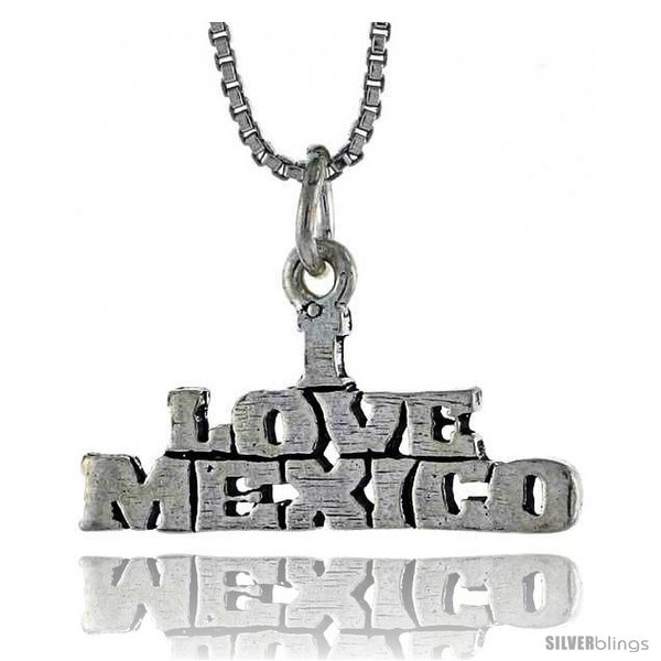 Primary image for Sterling Silver I LOVE MEXICO Word Necklace, w/ 18 in Box