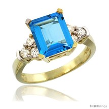 Size 6.5 - 14k Yellow Gold Ladies Natural Swiss Blue Topaz Ring Emerald-... - €811,26 EUR
