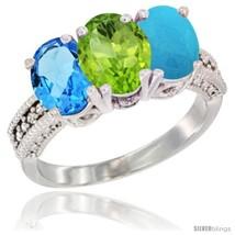 Size 7 - 14K White Gold Natural Swiss Blue Topaz, Peridot & Turquoise Ring  - $746.57