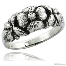 Size 6.5 - Sterling Silver Plumeria Flower Ring, 5/16 in. (8.5 mm)  - £26.11 GBP