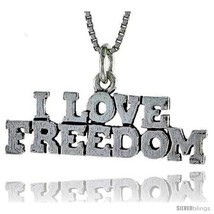 Sterling Silver I LOVE FREEDOM Word Necklace, w/ 18 in Box  - $44.40