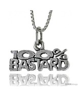 Sterling Silver 100 Percent BASTARD Word Necklace, w/ 18 in Box  - $44.40