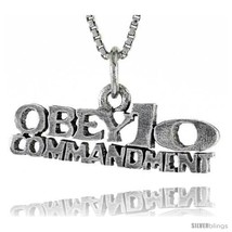 Sterling Silver OBEY 10 COMMANDMENTS Word Necklace, w/ 18 in Box  - $24.45