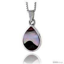 Sterling Silver Pear-shaped Shell Pendant, w/ Colorful Mother of Pearl i... - $31.32