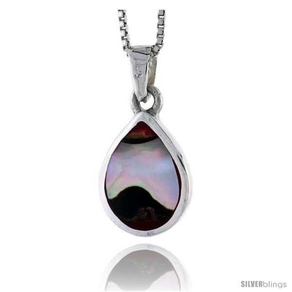 Ver pear shaped shell pendant w colorful mother of pearl inlay 3 4 20 mm tall18 thin snake chain