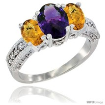Size 9 - 10K White Gold Ladies Oval Natural Amethyst 3-Stone Ring with W... - £416.08 GBP