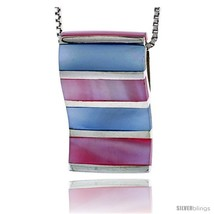 Sterling Silver Striped Rectangular Slider Shell Pendant, w/ Pink & Blue... - $58.68