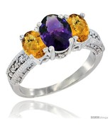 Size 7 - 10K White Gold Ladies Oval Natural Amethyst 3-Stone Ring with W... - £409.05 GBP