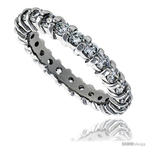Size 7 - Sterling Silver Cubic Zirconia Eternity Band Ring Brilliant Cut 2.5mm
