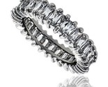 Sterling silver cubic zirconia eternity band ring emerald cut 4x2mm rhodium finish thumb155 crop