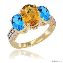 Size 6.5 - 14K Yellow Gold Ladies 3-Stone Oval Natural Whisky Quartz Rin... - $807.00
