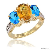 Size 8 - 14K Yellow Gold Ladies 3-Stone Oval Natural Whisky Quartz Ring ... - $807.00