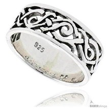 Size 10 - Sterling Silver Celtic Swirl Braid Flat Band, 5/16 in  - $26.67