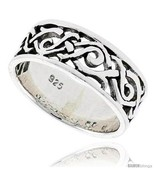 Size 12.5 - Sterling Silver Celtic Swirl Braid Flat Band, 5/16 in  - £20.26 GBP