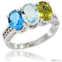 Size 7.5 - 14K White Gold Natural Swiss Blue Topaz, Aquamarine & Lemon Q... - $752.91
