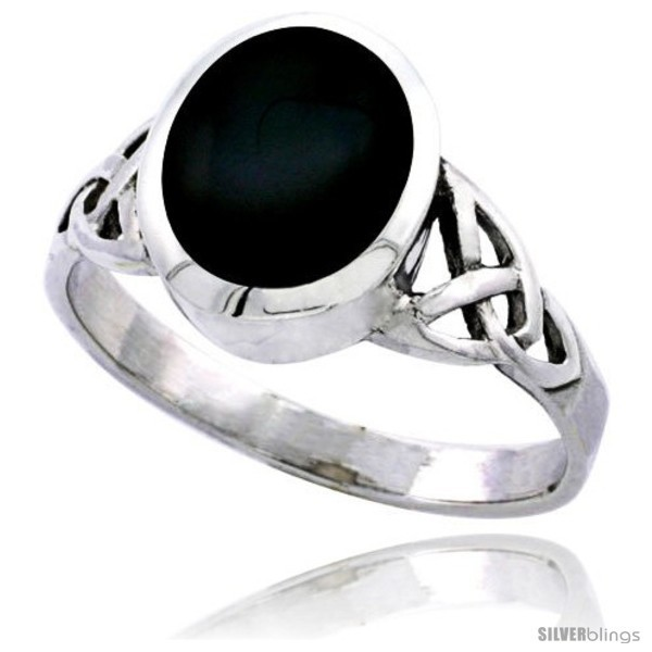 Sterling silver celtic triquetra trinity knot ring oval black onyx stone 7 16 in wide