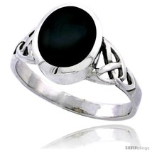Size 10 - Sterling Silver Celtic Triquetra Trinity Knot Ring with Oval Black  - $19.65