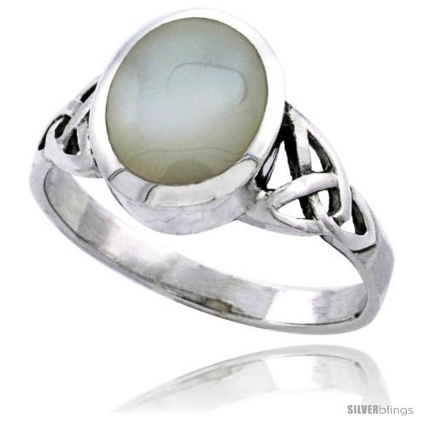 Sterling silver celtic triquetra trinity knot ring oval mother of pearl 7 16 in wide