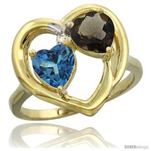 Size 9 - 14k Yellow Gold 2-Stone Heart Ring 6mm Natural London Blue Topa... - £363.13 GBP