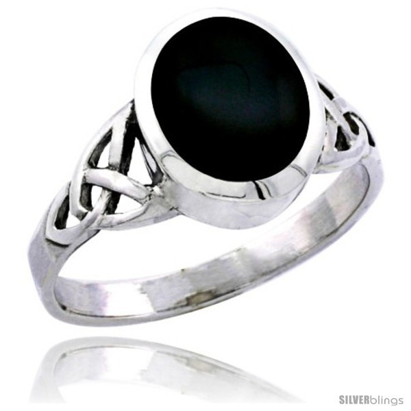 Size 10 - Sterling Silver Celtic Triquetra Trinity Knot Ring with Oval Black