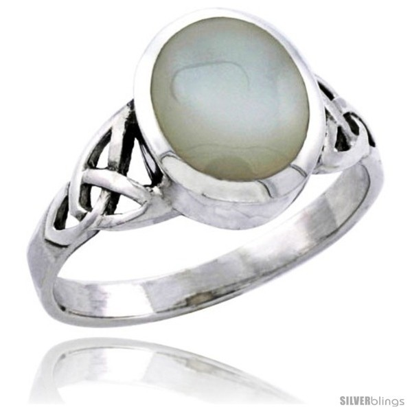 Size 13.5 - Sterling Silver Celtic Triquetra Trinity Knot Ring with Oval Mother
