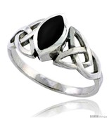 Size 12.5 - Sterling Silver Celtic Triquetra Trinity Knot Ring with Nave... - £18.42 GBP