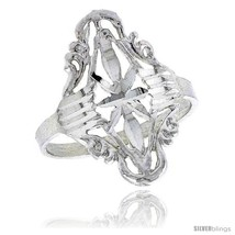 Size 6.5 - Sterling Silver Diamond-shaped Floral Filigree Ring, 7/8 in -... - $22.91
