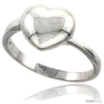 Size 6 - Sterling Silver Domed Heart Ring Flawless finish 1/2 in  - £19.80 GBP