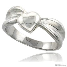 Size 6 - Sterling Silver Domed Heart Ring Flawless finish 5/16 in  - £30.48 GBP