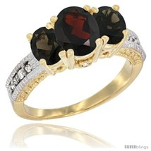 Size 8 - 10K Yellow Gold Ladies Oval Natural Garnet 3-Stone Ring with Sm... - £416.00 GBP