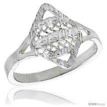 Size 6.5 - Sterling Silver Diamond-shaped Filigree Ring, 1/2  - $17.56