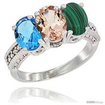 Ld natural swiss blue topaz morganite malachite ring 3 stone 7x5 mm oval diamond accent thumb200
