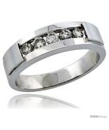 Size 8.5 - 10k White Gold 5-Stone Men's Diamond Ring Band w/ 0.40 Carat  - £864.61 GBP