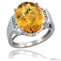 Size 6 - 10k White Gold Diamond Whisky Quartz Ring 9.7 ct Large Oval Stone  - £489.26 GBP