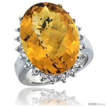 Size 5 - 10k White Gold Diamond Halo Whisky Quartz Ring 10 ct Large Oval... - $1,475.28