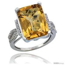 Size 9 - 10k White Gold Diamond Whisky Quartz Ring 12 ct Emerald Shape 1... - $793.27