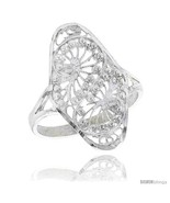 Size 9 - Sterling Silver Swirl Design Filigree Ring, 7/8 in, w/ Tiny  - £16.25 GBP